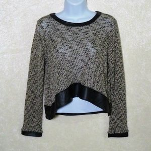 Mind Code Long Sleeve Knit Crop Faux Leather Top